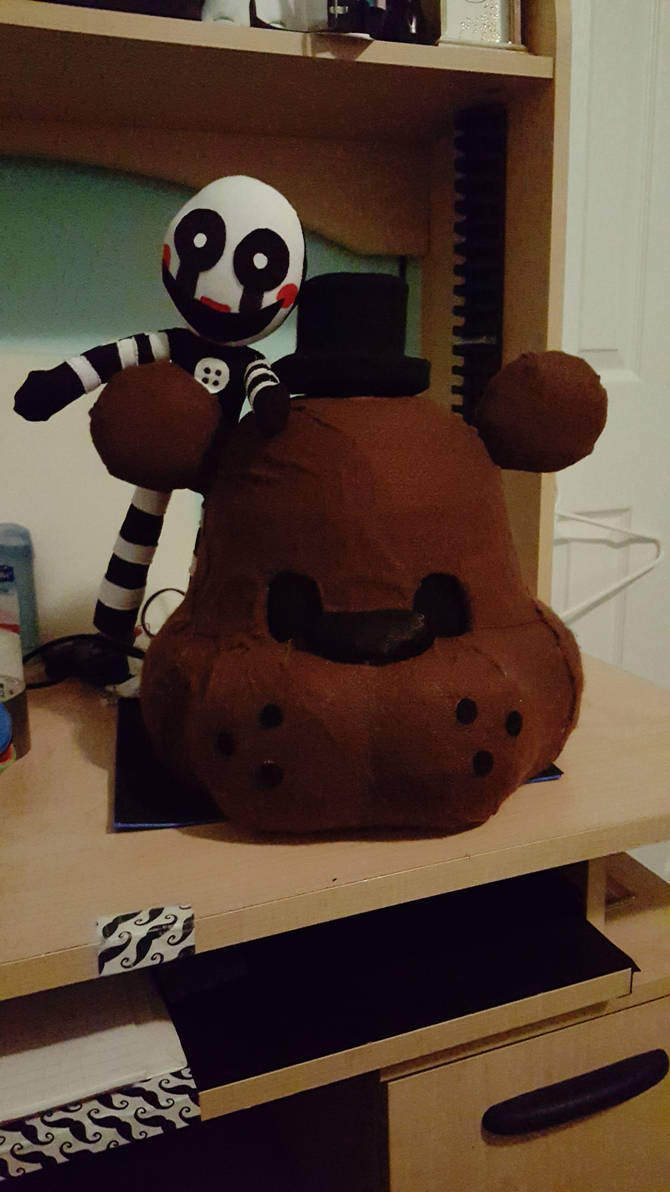 Freddy Fazbear Head and the Marionette Plush by BlondeFromHell on