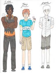 The Oni Boy AU Designs - Cole, Jay, and Zane by AnimeGeek15