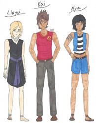 The Oni Boy AU Designs - Lloyd, Kai, and Nya by AnimeGeek15