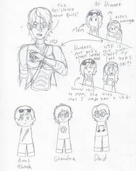 Ninjago and Family Sketches