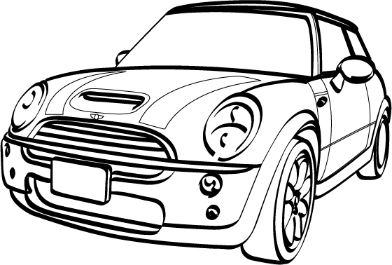mini cooper s clubman sketch coloring page