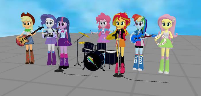 MMD Equestria Girls Rainbooms Band
