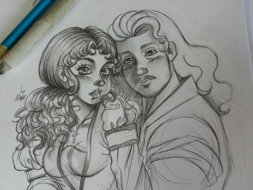 sketch of Isabel and Sir William by apprenticealchemist