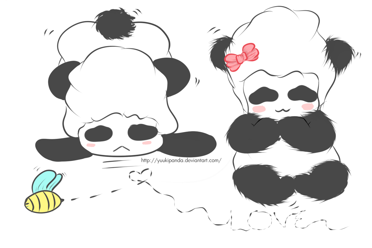 BlissfulMelody Panda Couple Art Block By