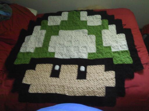Crochet Pattern For Mario Blanket : Mario mushroom crochet blanket by laceypatt on DeviantArt