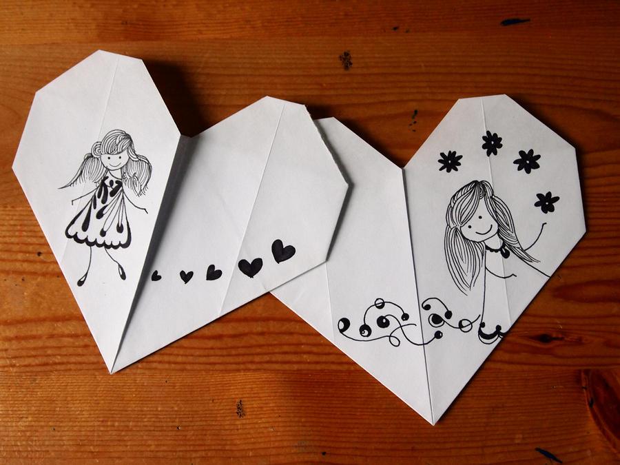 origami hearts by imnotkrazywham