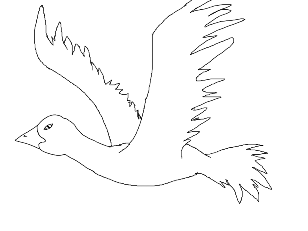 Simple black and white bird drawing - photo#13