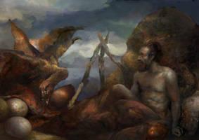 Morrowind: Cliffracer steals food from a hermit by IgorLevchenko