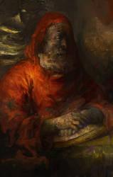 Skyrim: Dunmeri mystic at Apocrypha by IgorLevchenko