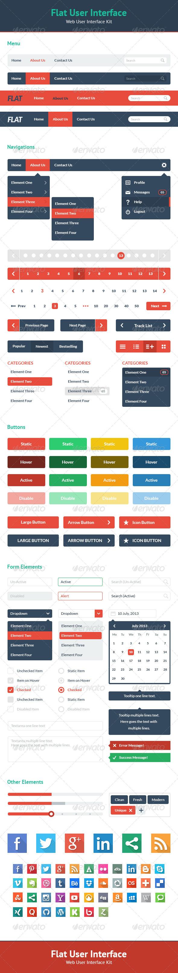 Flat User Interface - Web UI Kit by felipelessa