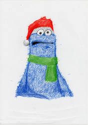 Cookie Monster Christmas by Ditch-scrawls