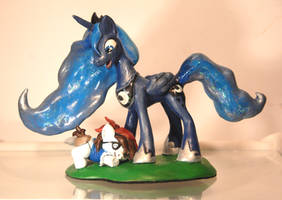 Princess Luna and Pipsqueak sculpt by Miki-