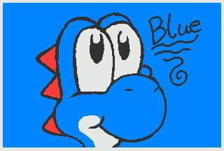 SM 3DS Art- Blue Yoshi by TrishaKat