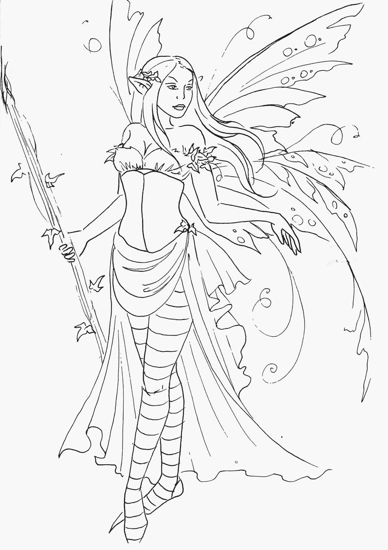 fairy queen coloring pages - fairy queen lineart by jannafairyart on deviantart