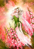Foxglove Garden by JannaFairyArt