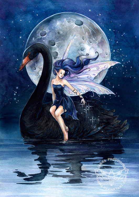 Black Swan Painting Black Swan ll by Jannafairyart