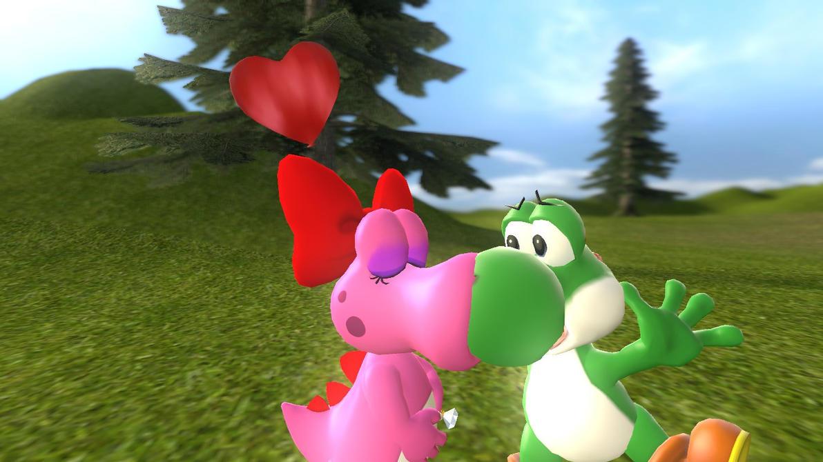 Yoshi and birdo kissing