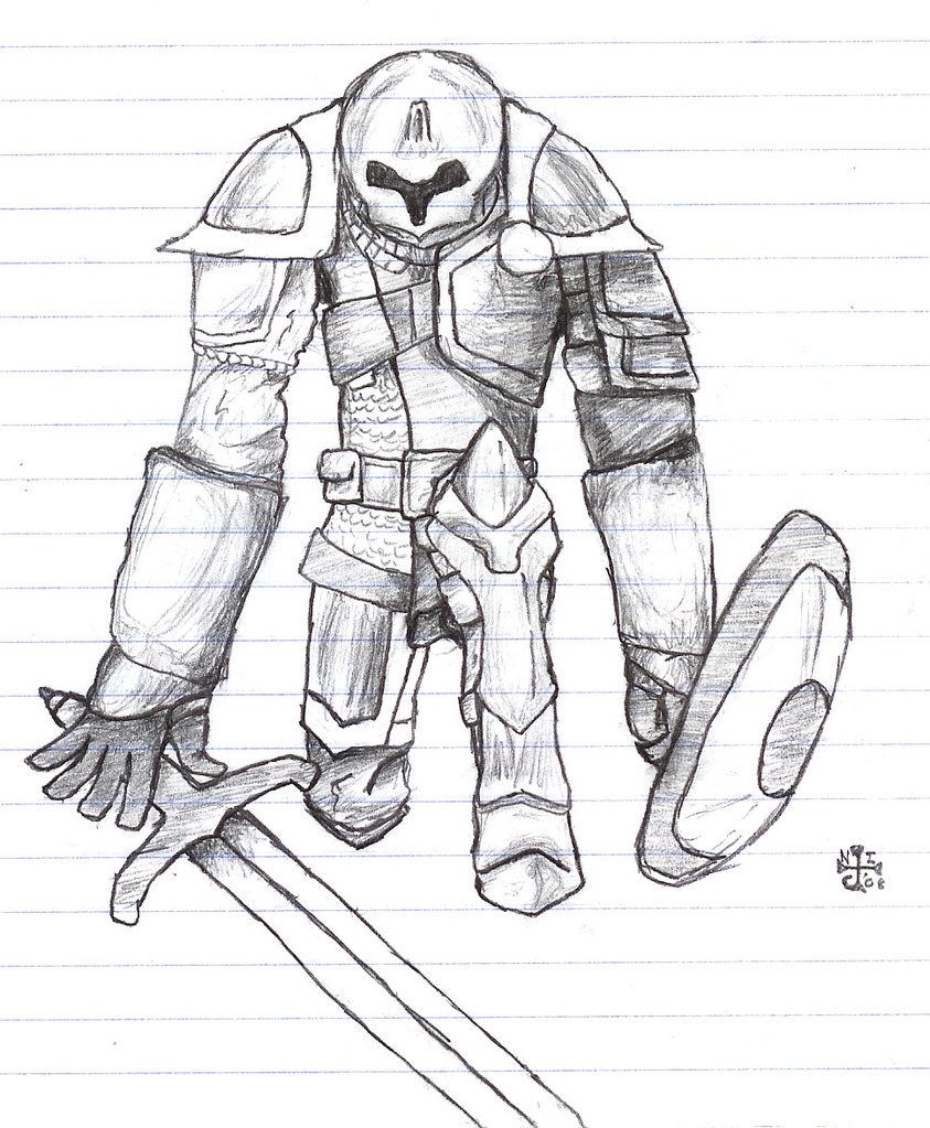 Kneeling Knight Drawing Kneeling Knight by Saruama