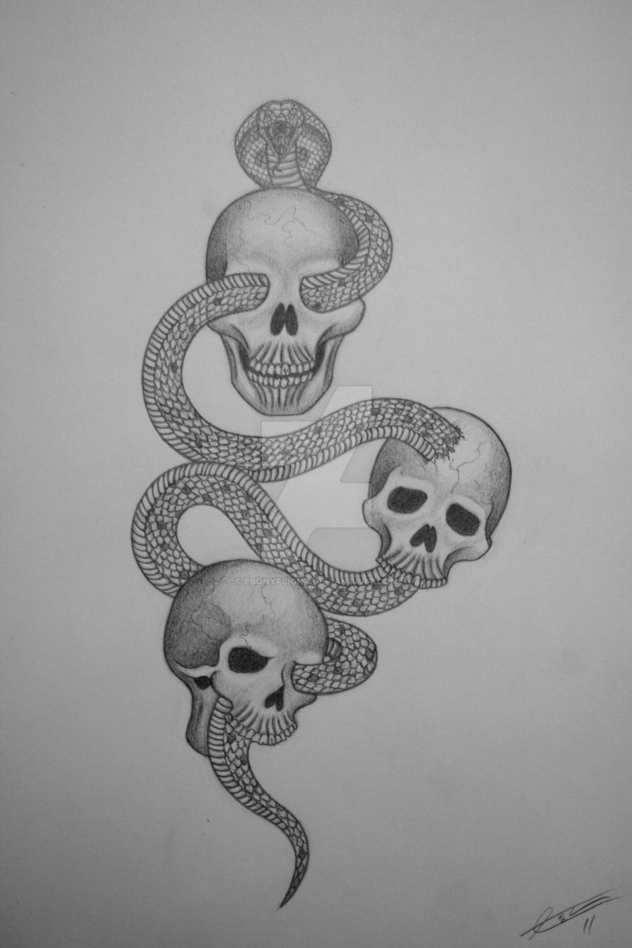 Skull n Snake Tattoo design by EbonyFlight on DeviantArt