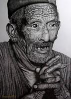 Prayer of an old man by Arunava-Art