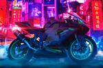 Cyberpunk racing motorcycle