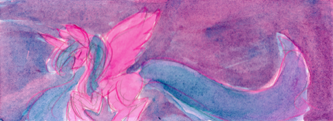 Flying Pink Pony Watercolor Doodle by Enuwey