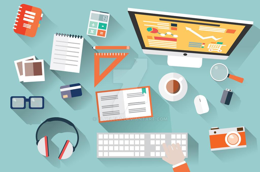 Flat Design Office Desk by BlueLela