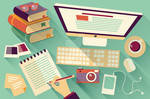 Flat Design Office Desk 04