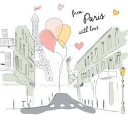 Paris Postcard Hand Drawn