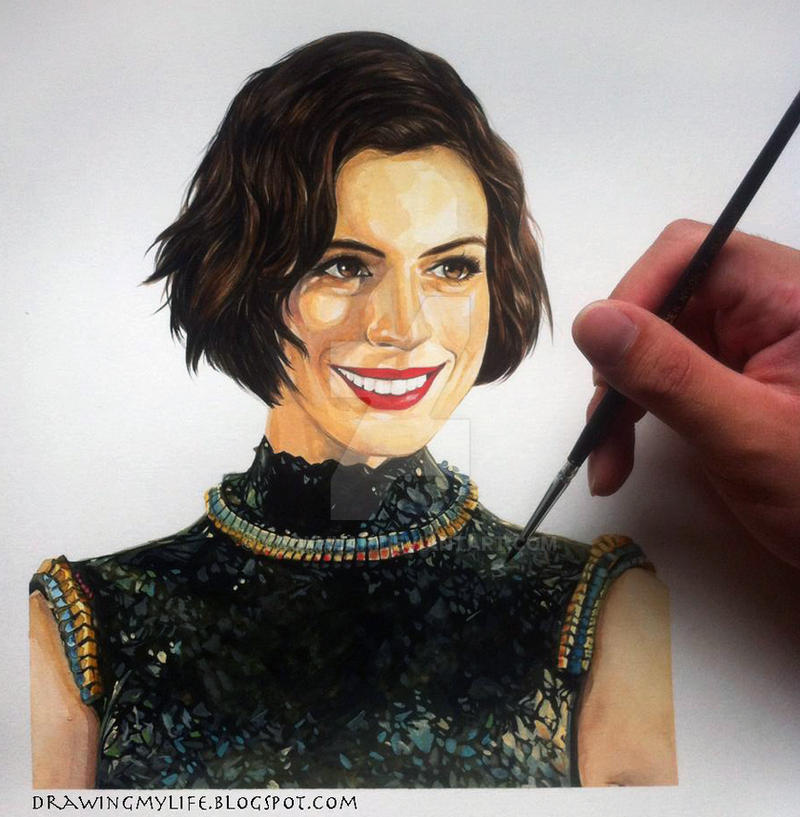 Anne Hathaway [Watercolour] By Yaokhuan On DeviantArt
