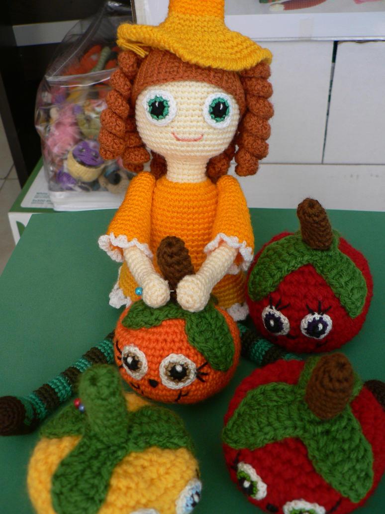 Crochet Halloween Candy Doll and tomato pincushion by GirlOfTheOcean