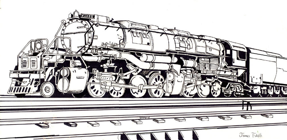 Union pacific challenger train by prowler974 on deviantart for Steam engine coloring pages