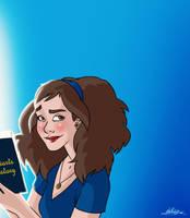 HP: Blue Bookworm by Loleia