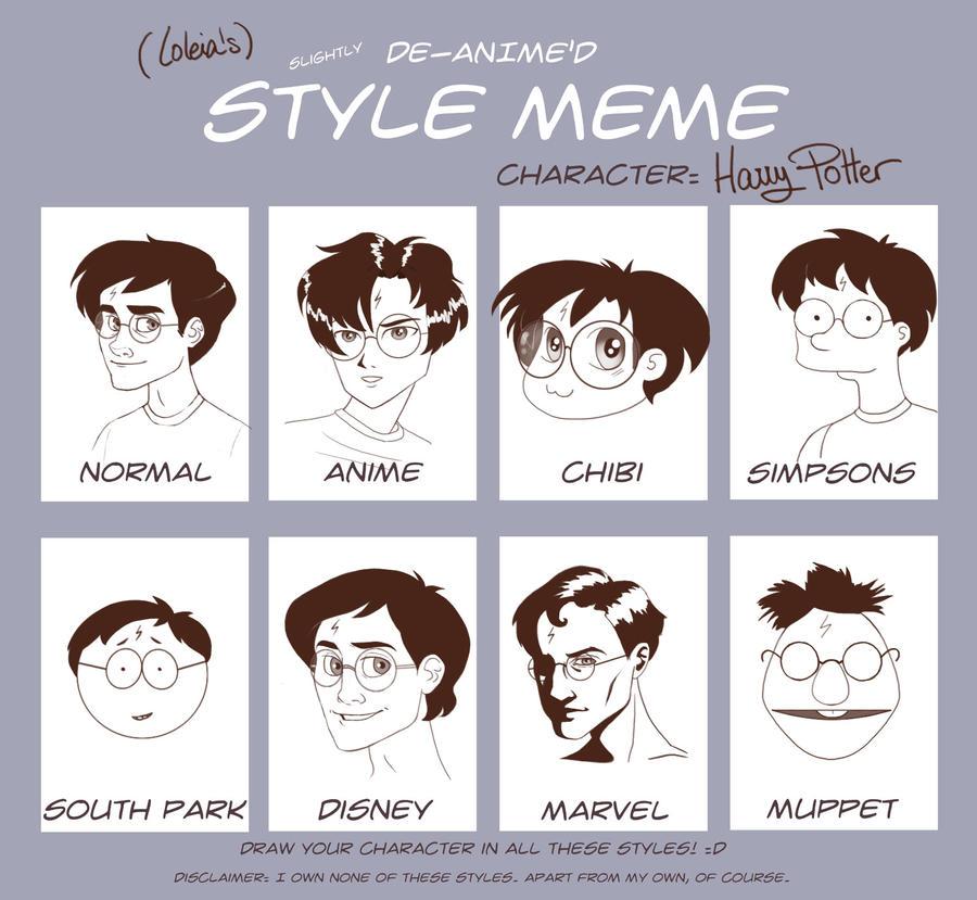 DeAnimed Style Meme By Loleia On DeviantArt - Hairstyle drawing meme