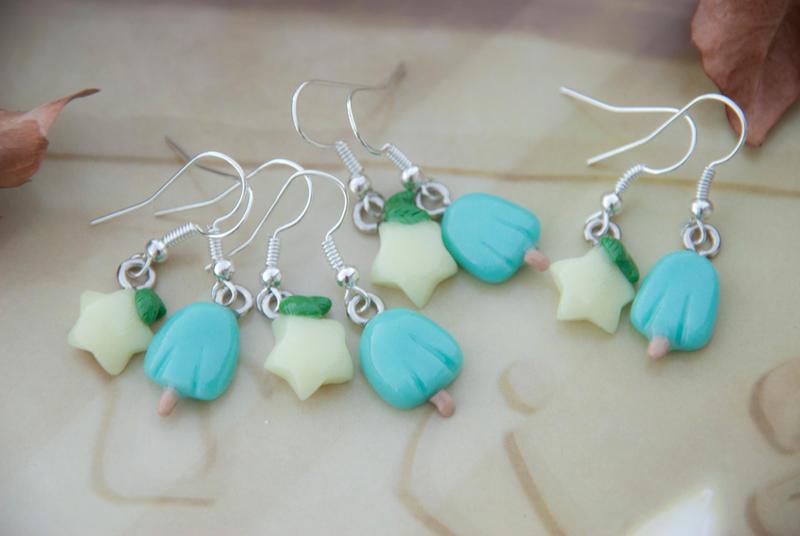 Pastel Paopu Fruit and Sea Salt IceCream Earrings by IvrinielsArtNCosplay