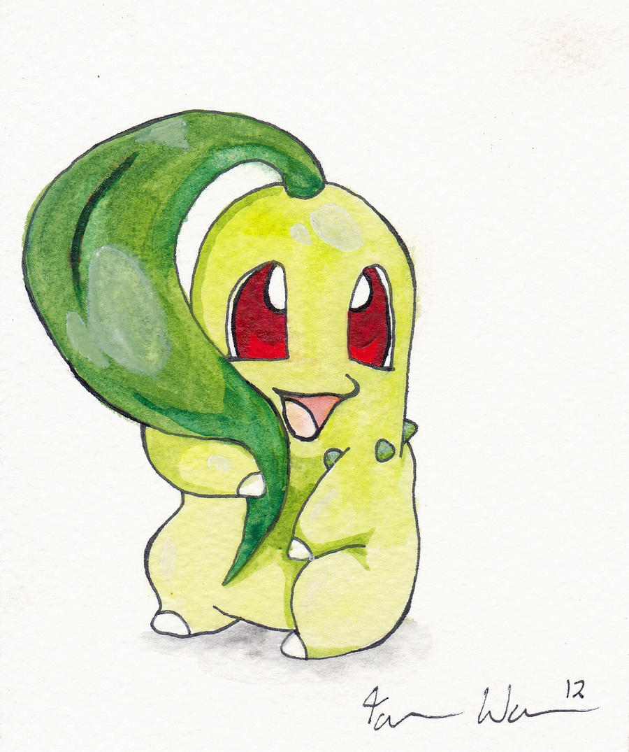 Watercolour Chikorita by Nomalimae