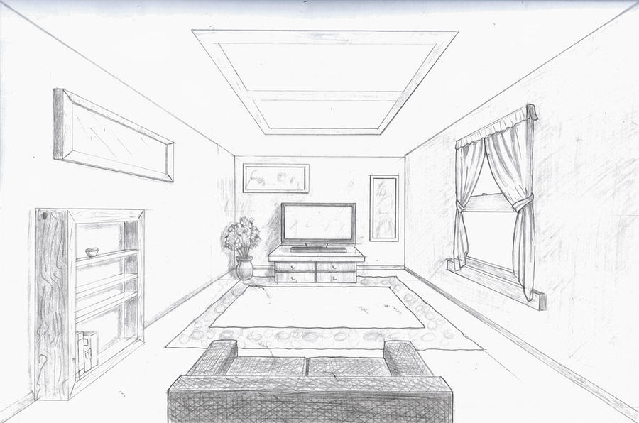Single point perspective room by a rob on deviantart for Bedroom 2 point perspective