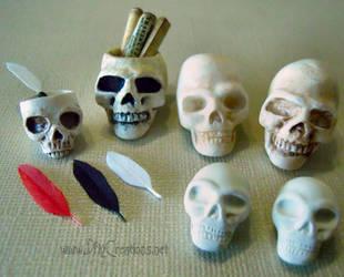 Skulls, Skull Ink Pots, Skull Scroll Holders by DFLY847