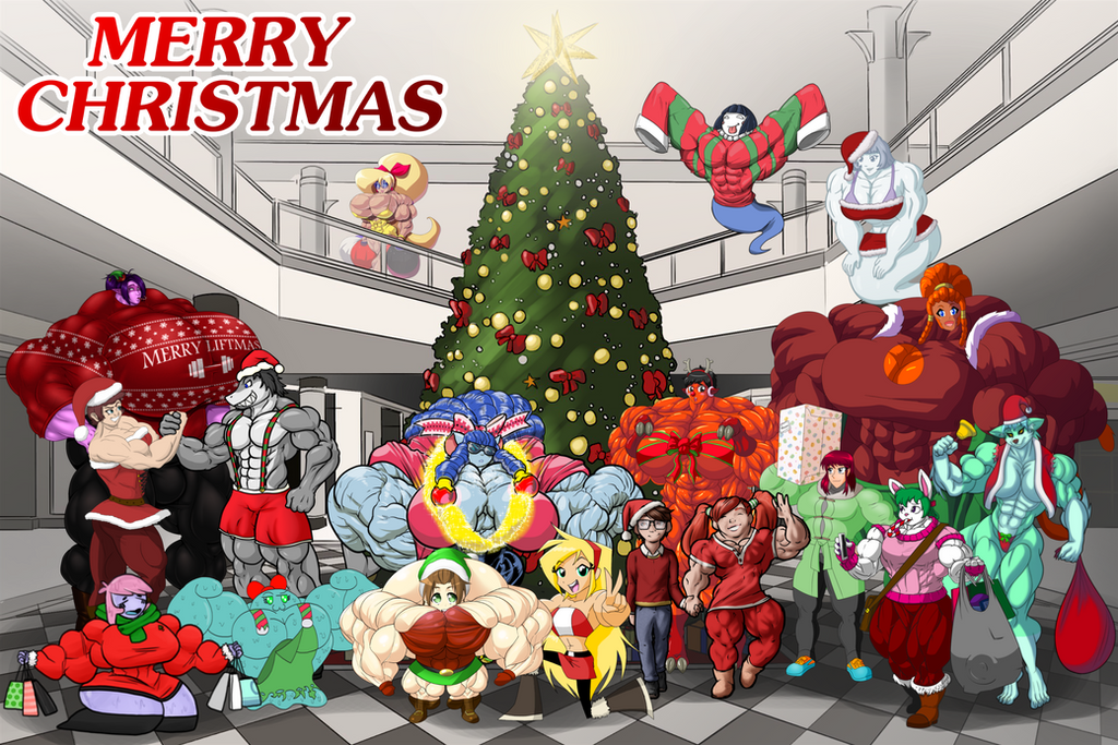 A Merry Muscle Girl Christmas by RedSilverArtist