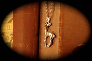 Simple Silver Doe Necklace by kittykat01