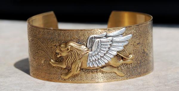 SOLD Winged Lion Cuff Bracelet by kittykat01