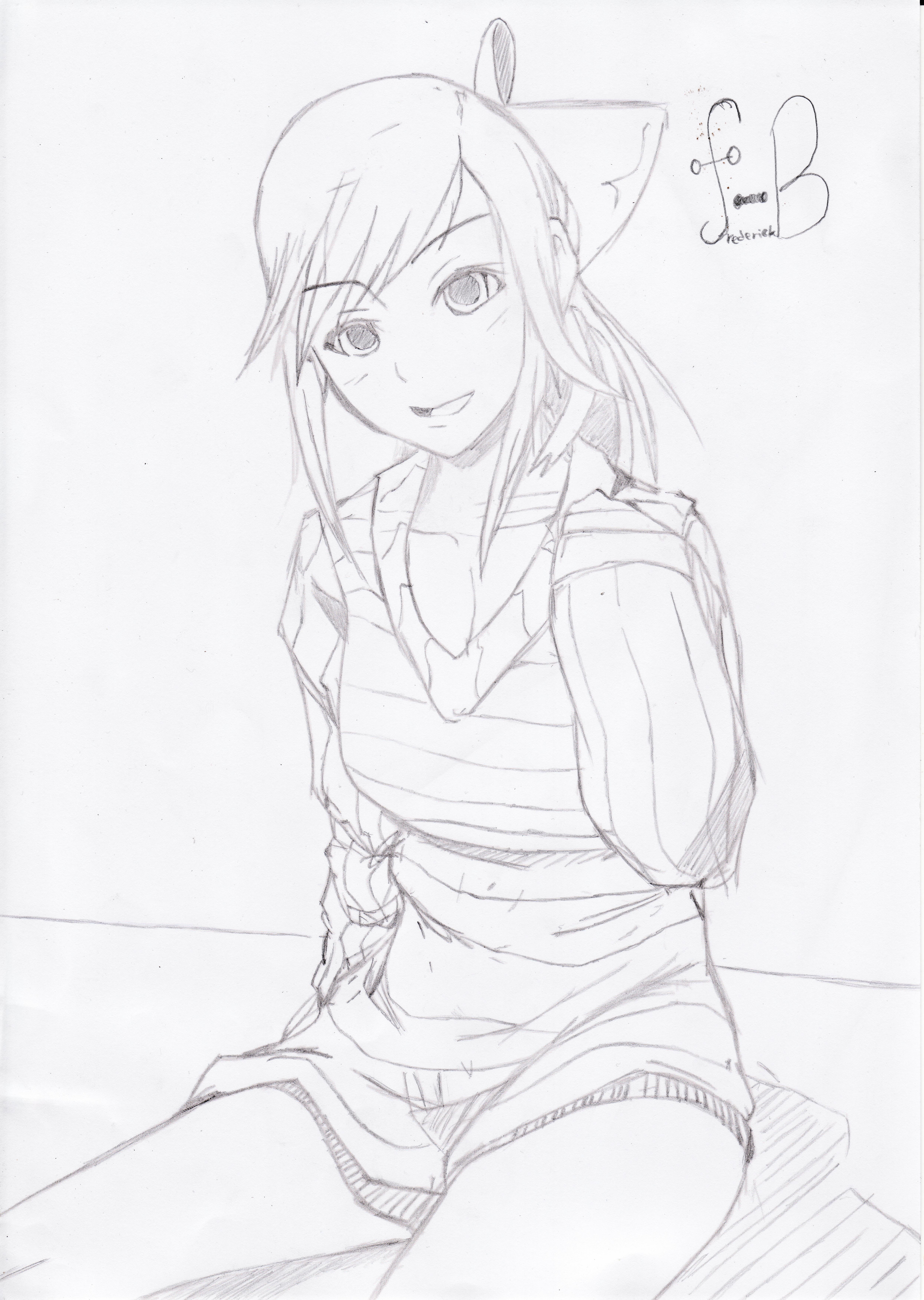 Anime Girl Sitting By Destroyerf On DeviantArt