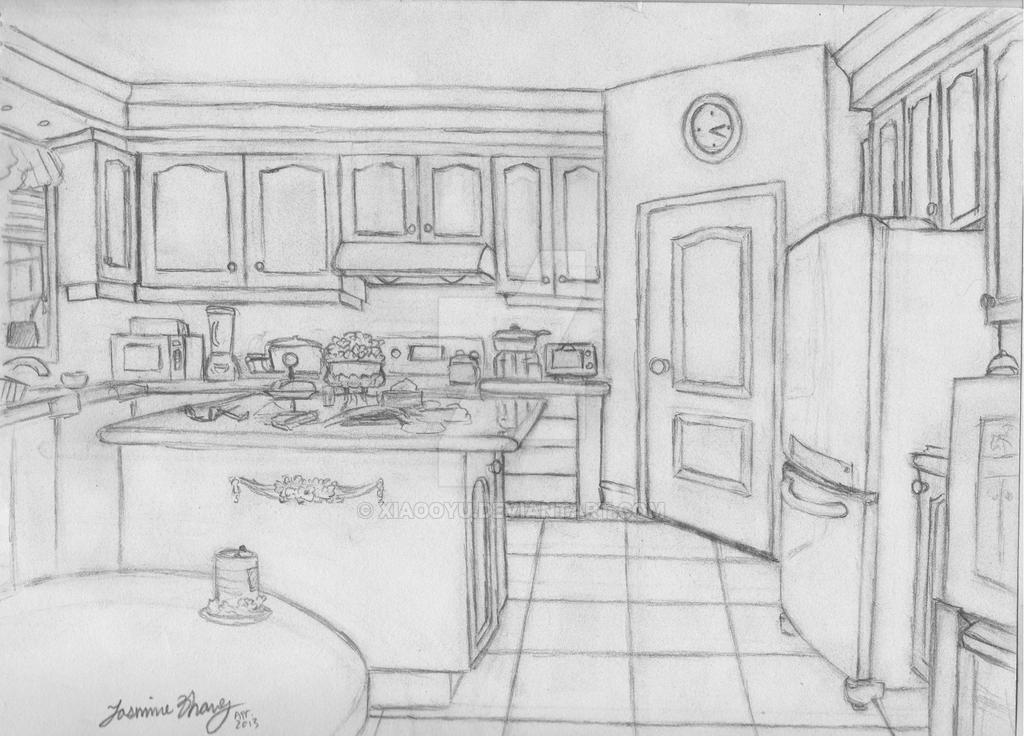 Kitchen perspective by xiaooyu on deviantart for 3d drawing kitchen