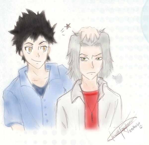 Yamamoto and Gokudera, colored by daniparra