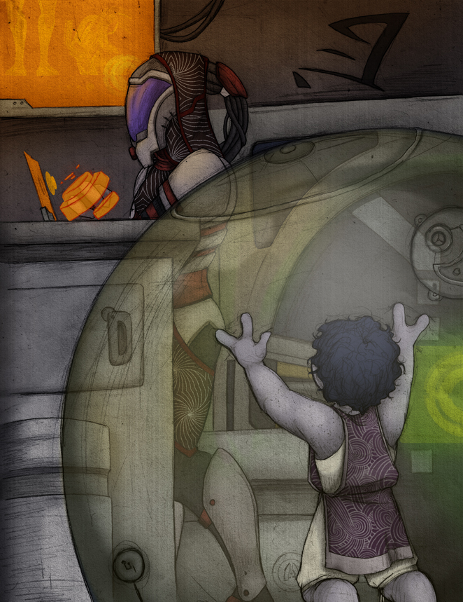 Rael'Zorah and Little Tali by doppelgangergeisha