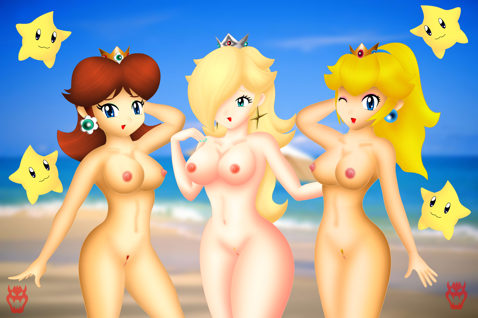 peach and daisy nude