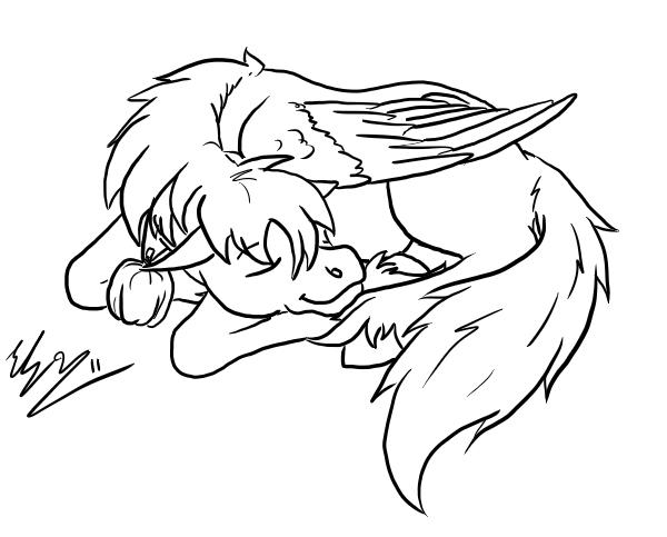 Coloring Page Male Pegasus Sleeping