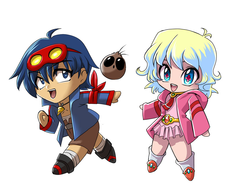 Chibi Simon and Nia by glance-reviver on DeviantArt