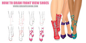 How to draw front view shoes