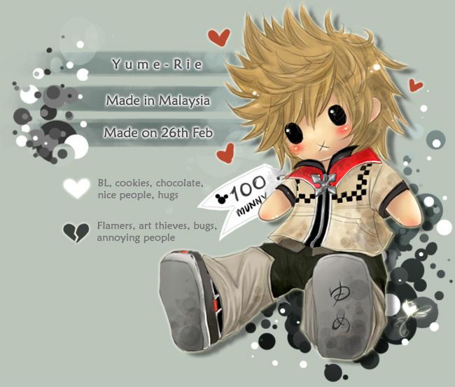 ROXAS PLUSHIE XD-heart- by Yume-Rie